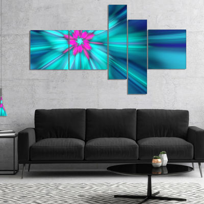Designart Rotating Blue Fireworks Multipanel Floral Canvas Art Print - 5 Panels