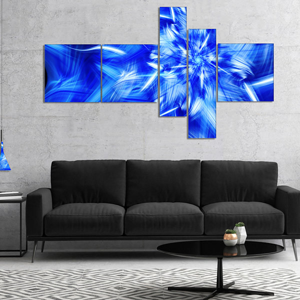 Designart Rotating Bright Blue Fireworks Multipanel Floral Canvas Art Print - 5 Panels