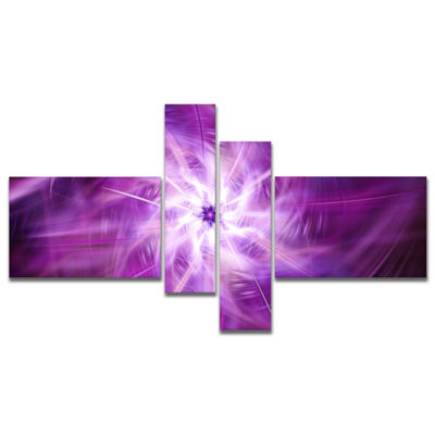Designart Rotating Bright Purple Fireworks Multipanel Floral Canvas Art Print - 4 Panels