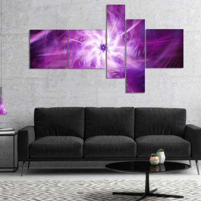 Designart Rotating Bright Purple Fireworks Multipanel Floral Canvas Art Print - 5 Panels