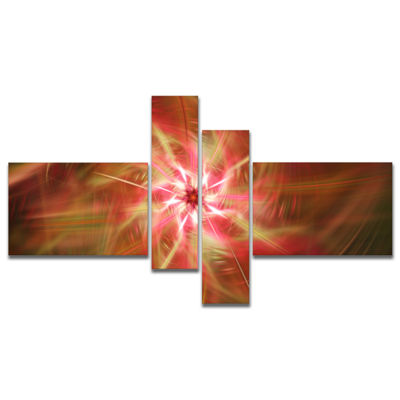 Designart Rotating Brown Bright Fireworks Multipanel Floral Canvas Art Print - 4 Panels