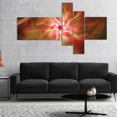Designart Rotating Brown Bright Fireworks Multipanel Floral Canvas Art Print - 5 Panels