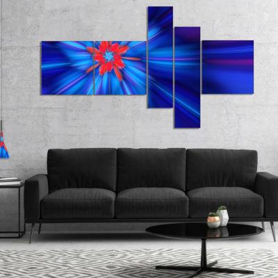 Designart Rotating Fractal Blue Fireworks Multipanel Floral Canvas Art Print - 5 Panels