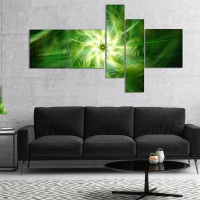 Designart Rotating Fractal Green Fireworks Multipanel Floral Canvas Art Print - 5 Panels