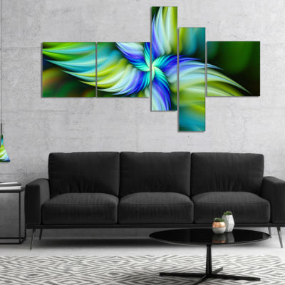 Designart Rotating Fractal Green Star MultipanelFloral Canvas Art Print - 5 Panels