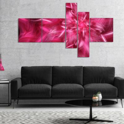 Designart Rotating Fractal Pink Fireworks Multipanel Floral Canvas Art Print - 5 Panels