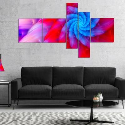 Designart Rotating Red Pink Fractal Flower Multipanel Floral Canvas Art Print - 4 Panels