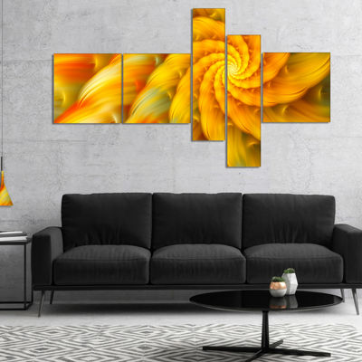 Designart Rotating Yellow Fractal Flower Multipanel Floral Canvas Art Print - 5 Panels