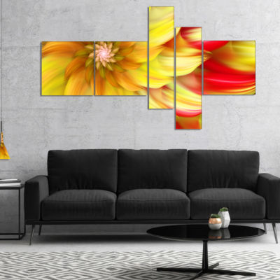 Designart Rotating Yellow Red Fractal Flower Multipanel Floral Canvas Art Print - 5 Panels