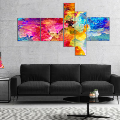 Designart Seamless Colors Multipanel Abstract Canvas Art Print - 5 Panels