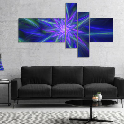 Designart Shining Blue Exotic Fractal Flower Multipanel Floral Canvas Art Print - 5 Panels