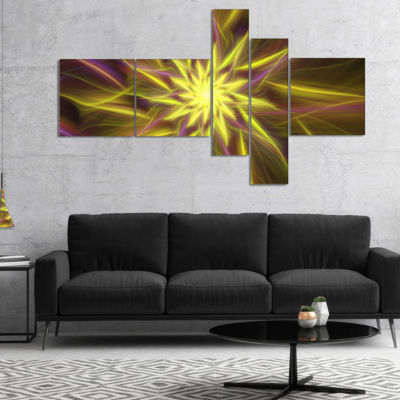 Designart Shining Golden Exotic Fractal Flower Multipanel Floral Canvas Art Print - 5 Panels