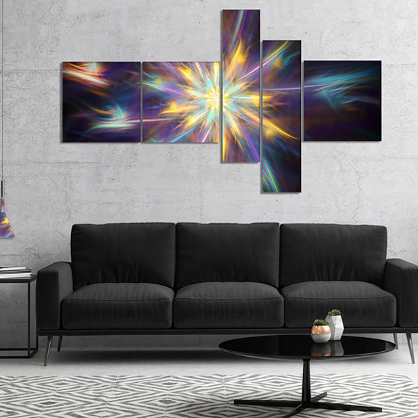 Designart Shining Multi Color Exotic Flower Multipanel Floral Canvas Art Print - 5 Panels