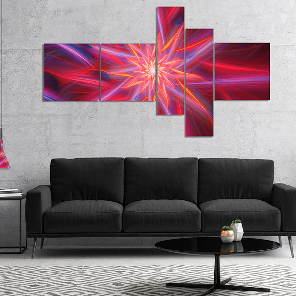 Designart Shining Red Purple Exotic Flower Multipanel Floral Canvas Art Print - 5 Panels