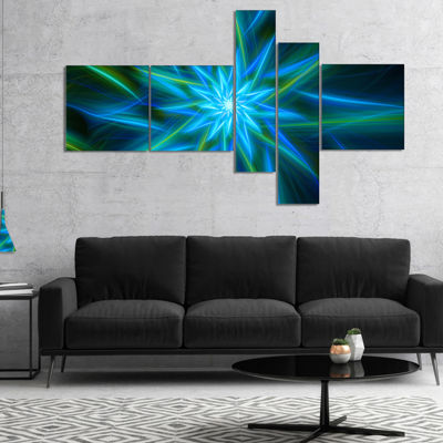 Designart Shining Turquoise Exotic Flower Multipanel Floral Canvas Art Print - 5 Panels