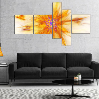 Designart Shining Yellow Exotic Fractal Flower Multipanel Floral Canvas Art Print - 4 Panels