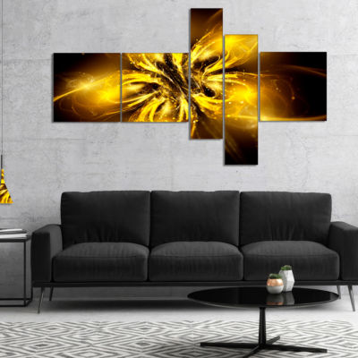 Designart Shiny Gold Fractal Flower On Black Multipanel Floral Canvas Art Print - 4 Panels