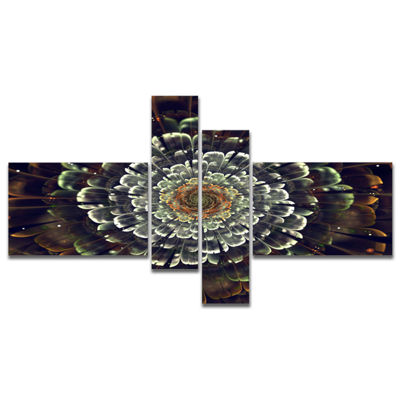 Designart Silver Metallic Fabric Flower MultipanelAbstract Print On Canvas - 4 Panels