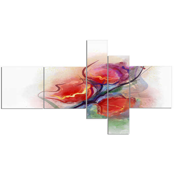 Designart Soft Floral Watercolor On Splashes Multipanel Floral Canvas Art Print - 5 Panels