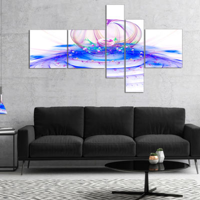 Designart Spectacular Blue 3D Surreal Art Multipanel Floral Canvas Art Print - 5 Panels