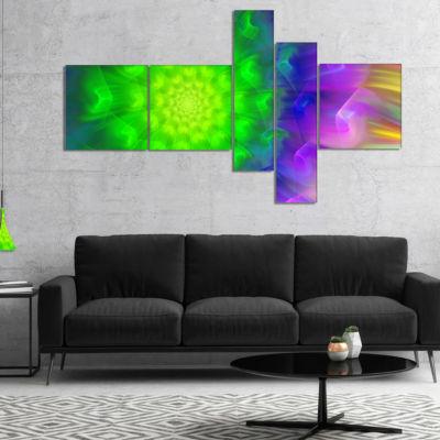 Designart Spectacular Green Dandelion MultipanelFloral Canvas Art Print - 5 Panels