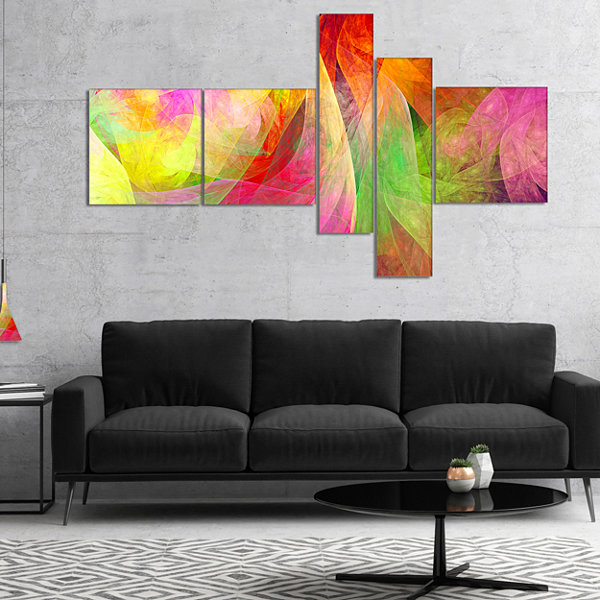 Designart Spectacular Multi Color Pattern Multipanel Floral Canvas Art Print - 5 Panels