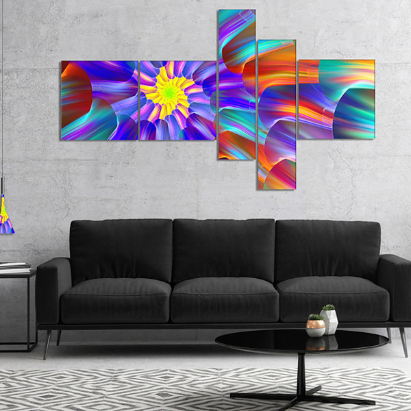 Design Art Spectacular Stain Glass With Spirals Multipanel Floral Canvas Art Print - 4 Panels