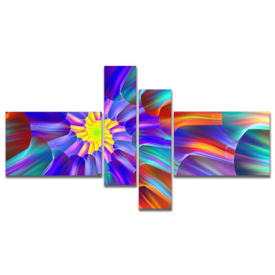 Designart Spectacular Stain Glass With Spirals Multipanel Floral Canvas Art Print - 4 Panels