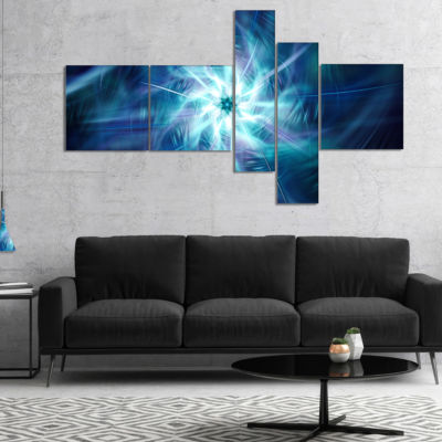 Designart Splaying Bright Blue Fireworks Multipanel Floral Canvas Art Print - 4 Panels