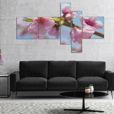 Designart Stem Of Peach Blossom Flowers MultipanelFloral Canvas Art Print - 5 Panels