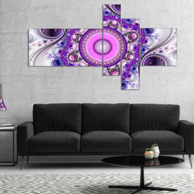 Designart Strange Flower With Wavy Curves Multipanel Floral Canvas Art Print - 4 Panels