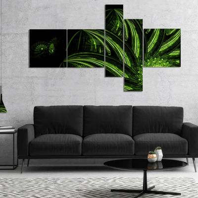 Designart Strange Green Flower Multipanel FloralArt Canvas Print - 4 Panels