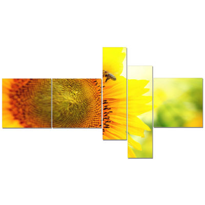Designart Sunflower Blooming On Field MultipanelAbstract Canvas Wall Art - 5 Panels