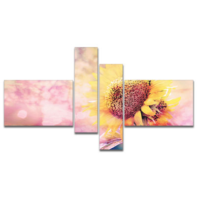 Designart Sunflower With Rainbow Light Effect Multipanel Floral Canvas Art Print - 4 Panels