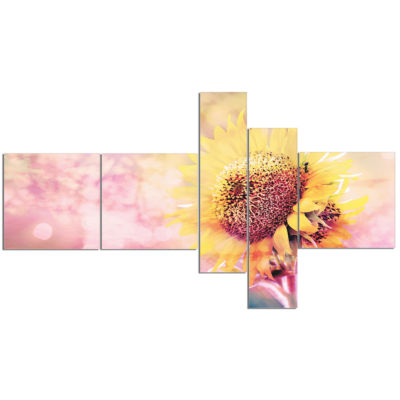 Designart Sunflower With Rainbow Light Effect Multipanel Floral Canvas Art Print - 5 Panels