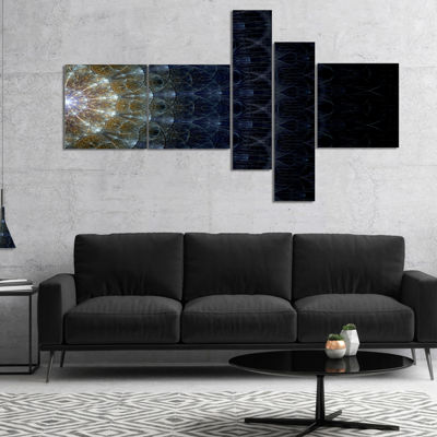 Designart Symmetrical Blue Silver Fractal FlowerMultipanel Abstract Print On Canvas - 5 Panels