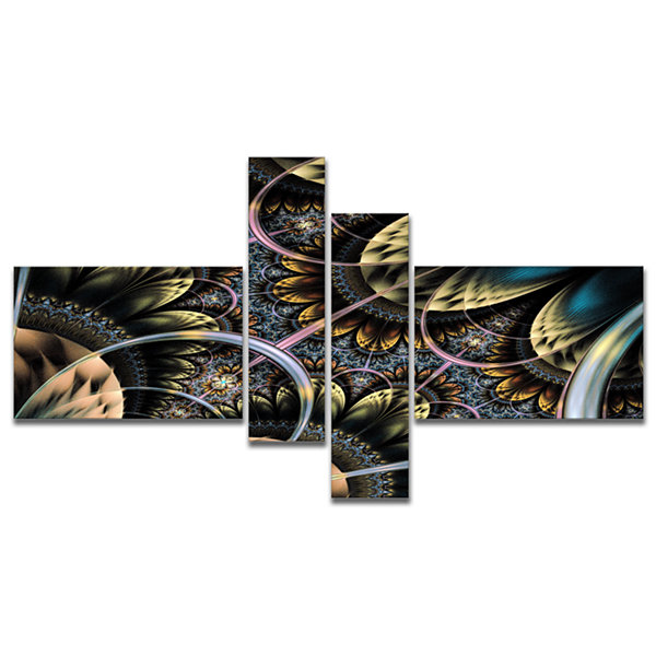 Designart Symmetrical Dark Orange Fractal FlowerMultipanel Abstract Print On Canvas - 4 Panels