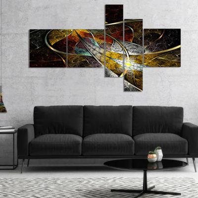 Designart Symmetrical Fractal Flower Multipanel Floral Art Canvas Print - 4 Panels