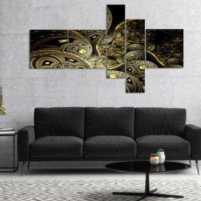 Designart Symmetrical Gold Fractal Flower Multipanel Floral Art Canvas Print - 4 Panels