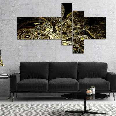 Designart Symmetrical Gold Fractal Flower Multipanel Floral Art Canvas Print - 5 Panels