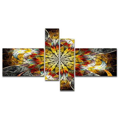 Designart Symmetrical Golden Flower Multipanel Floral Art Canvas Print - 4 Panels