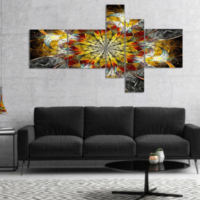 Designart Symmetrical Golden Flower Multipanel Floral Art Canvas Print - 4 Panels