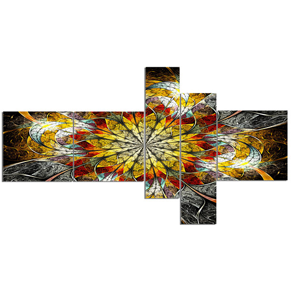Designart Symmetrical Golden Flower Multipanel Floral Art Canvas Print - 5 Panels