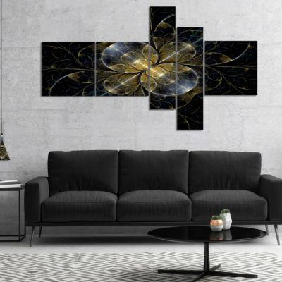 Designart Symmetrical Golden Fractal Flower Multipanel Floral Canvas Art Print - 5 Panels