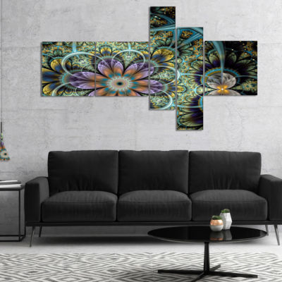 Designart Symmetrical Green Fractal Flower Multipanel Large Floral Art Canvas Print - 4 Panels
