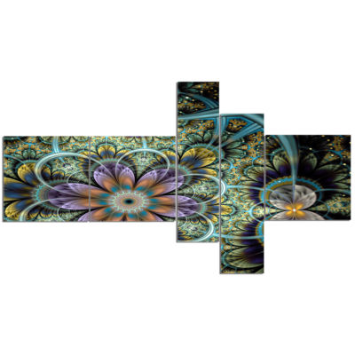 Designart Symmetrical Green Fractal Flower Multipanel Large Floral Art Canvas Print - 5 Panels