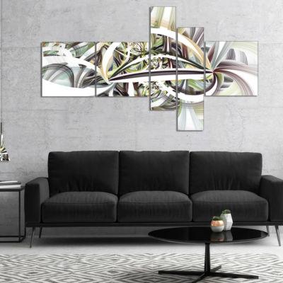 Design Art Symmetrical Spiral Fractal Flowers Multipanel Abstract Print On Canvas - 4 Panels