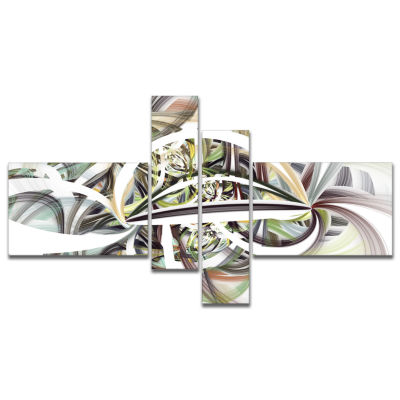 Designart Symmetrical Spiral Fractal Flowers Multipanel Abstract Print On Canvas - 4 Panels