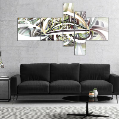 Designart Symmetrical Spiral Fractal Flowers Multipanel Abstract Print On Canvas - 5 Panels