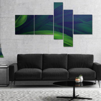 Designart Tropic Jungle Leaves Background Multipanel Floral Canvas Art Print - 4 Panels